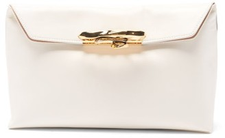 Alexander McQueen Sculptural Four-ring Leather Clutch - Ivory