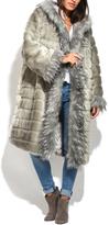 Everest Gray Faux Fur Trimmed Coat