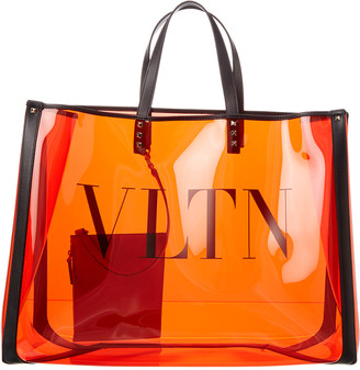 Valentino Grand Plage Large Leather & Pvc Tote Bag