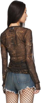 Jean Paul Gaultier SSENSE Exclusive Black Les Marins Mesh Graffiti Long Sleeve T-Shirt