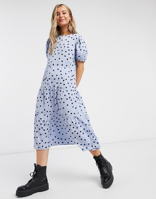 Influence tiered polkadot midi dress in cornflower blue