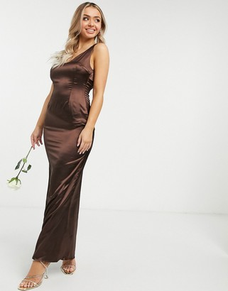 TFNC Bridesmaid sleeveless satin maxi dress with deep plunge and low back in chocolate