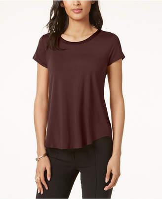 Alfani Petite Satin-Trim High-Low T-Shirt