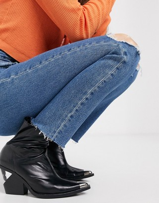ASOS DESIGN recycled high rise farleigh 'slim' mom jeans in dark wash with busted knees