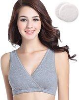 DuraStyle Ultra Soft Nursing Sleep Bra - Includes Bamboo Nursing Pads - Nursing & Maternity (Large, Grey)