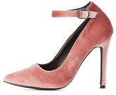 Charlotte Russe Velvet Ankle Strap Pointed Toe Pumps