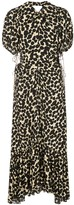 Proenza Schouler Textured Crepe Painted Dot Cinched Dress