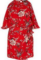 River Island Womens Red floral print cold shoulder playsuit