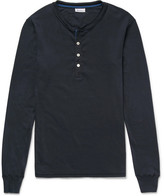 Schiesser Karl Heinz Cotton-jersey Henley Pyjama T-shirt - Blue