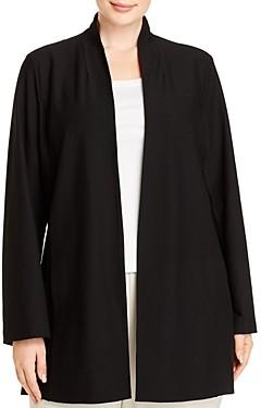 Eileen Fisher, Plus Size Long Stand-Collar Jacket