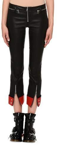 Alexander McQueen Zip-Front Straight-Leg Leather Pants
