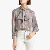 La Redoute Collections Metallic Checked Blouse with Pussy Bow and Long Sleeves