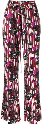 La DoubleJ Printed Flared Trousers