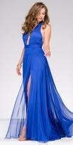 Jovani Silk Chiffon Plunging Halter Evening Gown