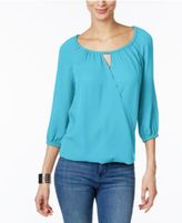 INC International Concepts Surplice Keyhole Blouse, Only at Macy's