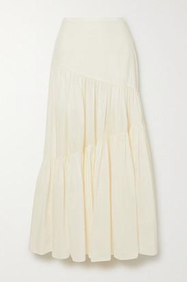 Matteau Net Sustain Tiered Cotton And Silk-blend Maxi Skirt - Ecru
