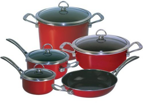Chantal 9-pc. Copper Fusion Cookware Set, Chili Red