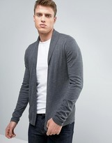 Asos Open Shawl Cardigan in Gray Cotton
