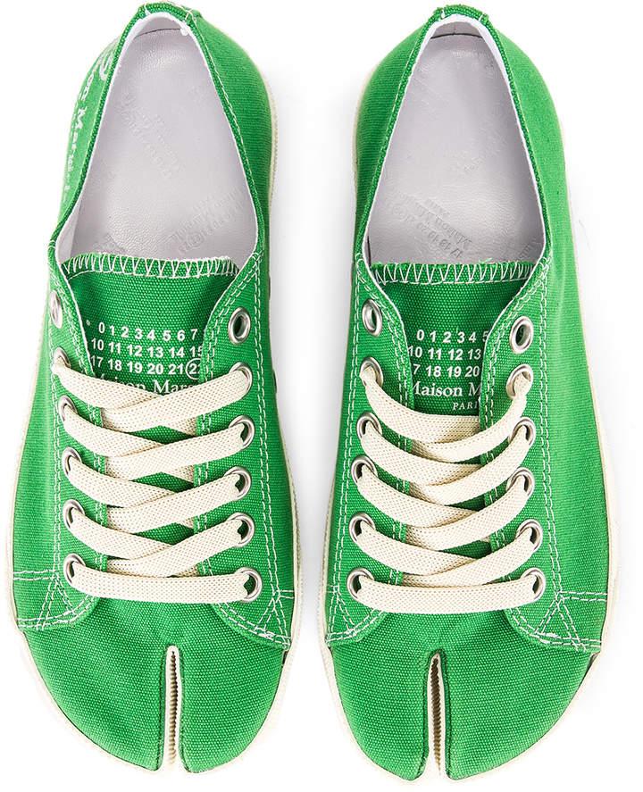 Maison Margiela Low Top Canvas Sneakers in Pepper Green | FWRD