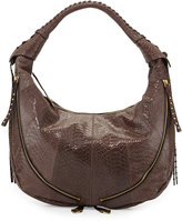 Oryany Jasmine Anaconda-Print Leather Hobo Bag, Mushroom