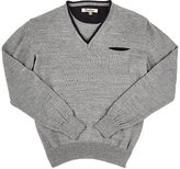 Nupkeet Merino Wool-Blend V-Neck Sweater-GREY