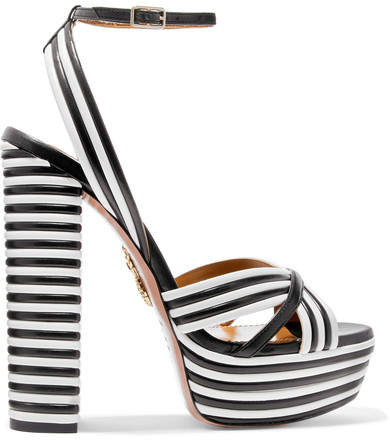 Aquazzura Sundance Striped Leather Platform Sandals - Black