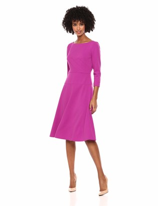 Donna Morgan Women's Midi-Length Fit and Flare Crepe Dress