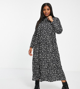 Street Collective Curve jersey long sleeve smock pephem midi dress in dalmation print
