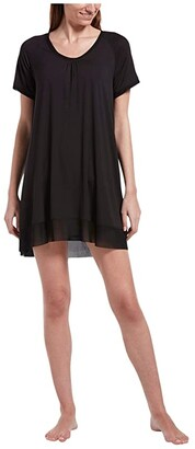 Hue Solid Short Sleeve Sleep Gown with Temp Tech (Black) Women's Pajama