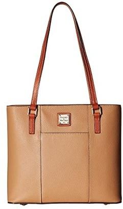 Dooney & Bourke Pebble Small Lexington Shopper (Black w/ Tan Trim) Tote Handbags