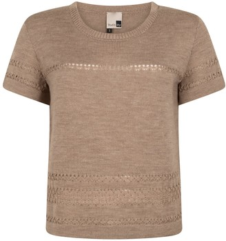 BEIGE Short Sleeve Merino Jumper With Lace Details Sweety - Natural