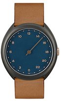 Slow O 15 - Brown Vintage Leather Anthracite Case Blue Dial Unisex Quartz Watch with Blue Dial Analogue Display and Brown Leather Strap