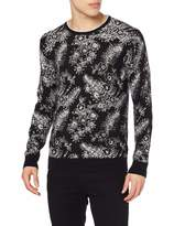 Scotch & Soda Men's Cotton-Melange Crewneck Pull with All-Over Print Vest