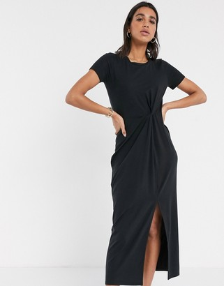 Vero Moda midi t-shirt dress with twist detail in black