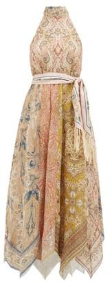 Zimmermann Freja Halterneck Paisley-print Linen Dress - Brown Print
