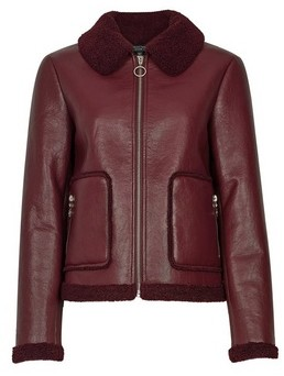 Dorothy Perkins Womens Berry Short Shearling Jacket