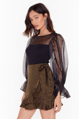 Nasty Gal Womens We Are Sheer for It Organza Balloon Sleeve Top - Black - S
