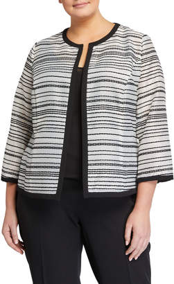 Kasper Plus Plus Size Sheer Stripes Open Jacket