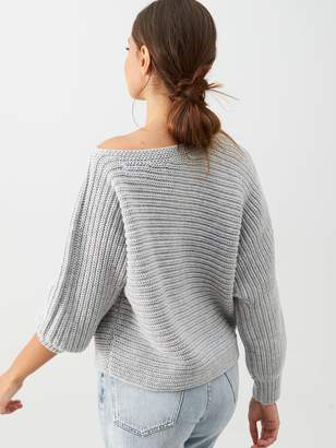 Very Off The Shoulder Horizontal Rib Slouch Jumper - Grey