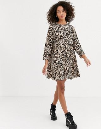 Asos DESIGN long sleeve smock mini dress in leopard print