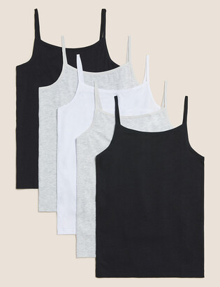 Marks and Spencer 5 Pack Cotton Camisoles (2-16 Yrs)