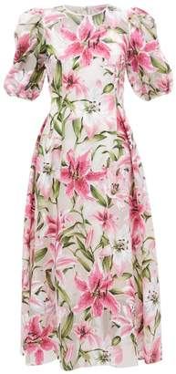 Dolce & Gabbana Puff-sleeve Flocked Lily-print Organza Dress - Womens - Pink Multi
