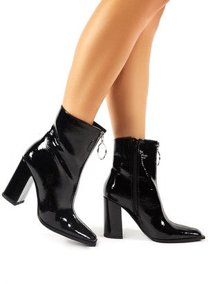 Public Desire Payback Crinkle Patent Zip Up Block Heeled Ankle Boots