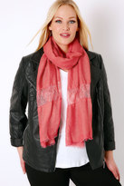 Yours Clothing Coral Scarf With Lace Insert