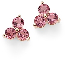 Bloomingdale's Pink Tourmaline Three Stone Stud Earrings in 14K Rose Gold - 100% Exclusive