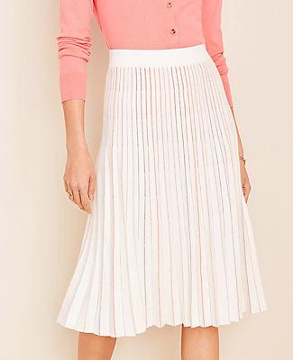Ann Taylor Petite Metallic Pleated Sweater Skirt