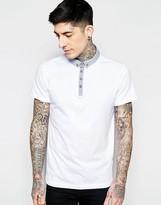 Brave Soul Contrast Chambray Collar Polo Shirt
