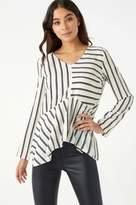 Next Womens Lipsy Stripe High Low Long Sleeve Blouse