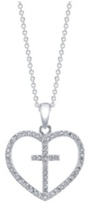 Unwritten Gratitude & Grace Fine Silver Plated Cubic Zirconia Heart and Cross Pendent Necklace