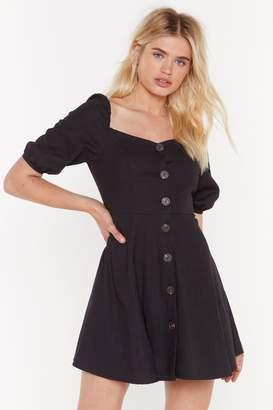 Nasty Gal Womens What You Flaring At Button-Down Mini Dress - Black - 6, Black